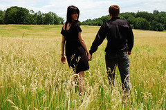 [フリー画像] 人物, カップル・恋人・夫婦, 草原, 後ろ姿, 201005181700