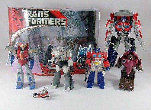 Transformers Mega SCF + Optimus Movie Voyager + Flywheels G1