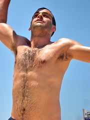 Dog's Best Friend (Alan46) Tags: sky sun cute men beach dogs pecs telaviv sand muscular handsome dudes navel abs nips hunks studs torsos armpits gays treasuretrail hairychests hairyarmpits