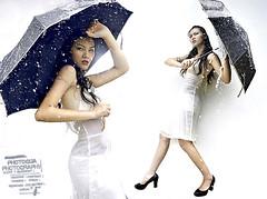 gaby (Photogua) Tags: white cute sexy wet water beautiful rain japan umbrella hair asian pretty korean malaysia highfashion waterhair