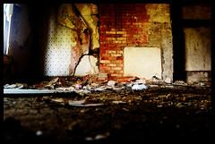([morganjoseph]) Tags: old red color brick art abandoned d50 nikon focus fireplace d70 livingroom vacant saturation d200 d100 nikkor destroyed familyroom rundown d300 d40 d80 d40x