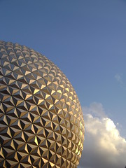 Spaceship Earth (kevkev44) Tags: sunset clouds ball orlando epcot ride florida icon disney disneyworld waltdisneyworld epcotcenter golfball spaceshipearth darkride sse epcotball disneyicon