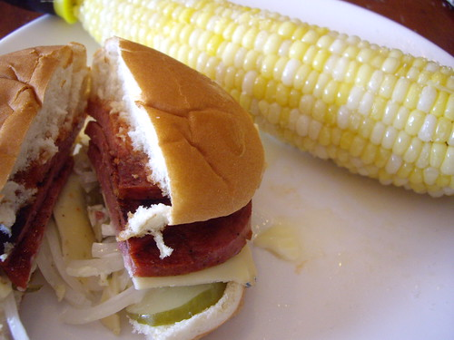 Fried Bologna and Sweet Corn