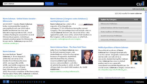 """Norm Coleman"" search results for Cuil.com on 07/29/08"