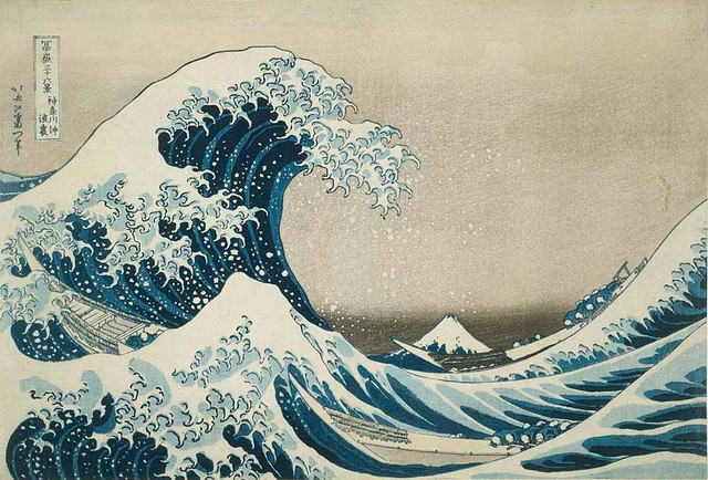 36 Views of Mount Fuji: Back of a Wave on the Open Sea off Kanagawa Ukiyo-e print