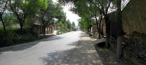 Narrow and busy China National Highway 312 near Gantsaodian, Gansu Province, China