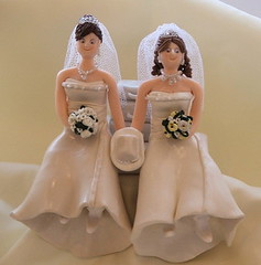 Wedding Cake Toppers - Cowboy Girl Brides (pauline@weddingtreasures) Tags: gay wedding cake lesbian groom bride couple honeymoon kilt marriage fimo figurines clay sculpey brides caketopper figurine suitcase cowboyhat toppers cowboyboots veils weddingcaketopper callylillies