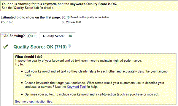 New AdWords Score