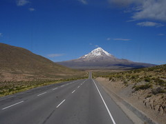 Sajama (MaximeF) Tags: chile road sky cloud southamerica truck long carretera bolivia montaa montain nevado bolivie sajama nevadosajama