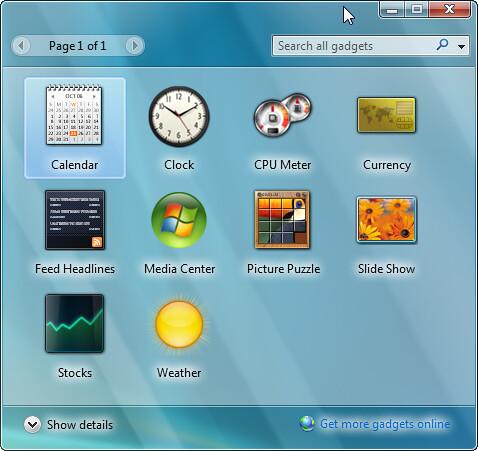 Gadgets no Windows 7
