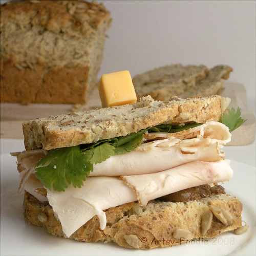 Flaxseed bread sandwich
