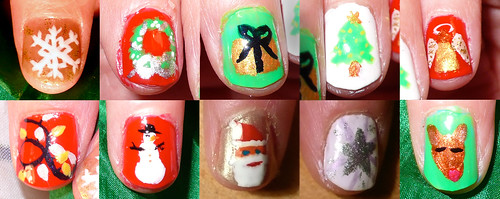 Colourful christmas nails designs