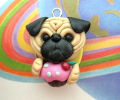 Pug loves cupcake Necklace (accetera) Tags: dog dogs necklace handmade pug jewelry polymerclay etsy etsycom