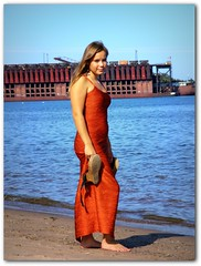 Mom, put the camera away! (Blondieyooper) Tags: summer orange beach water up train dress michigan lakesuperior marquette leora yooper