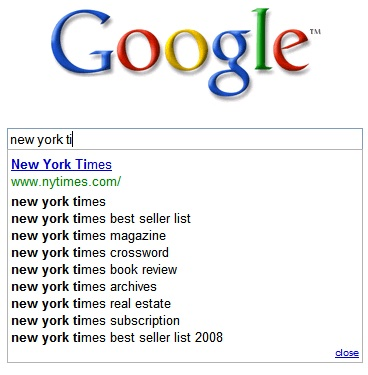 New York Times On Google Search Suggest