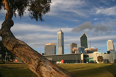 Perth Cityscape-Sunset-1 (sanmang610) Tags: city travel blue sunset sky white tree green tower tourism yellow skyline clouds landscape cityscape australia perth western trunk skycraper