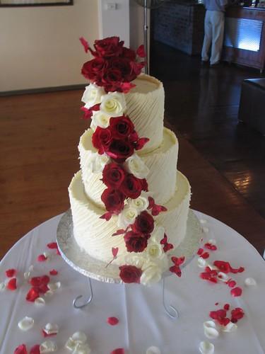 3 Tier White Chocolate Spanish Textured Ganache Wedding Cake With