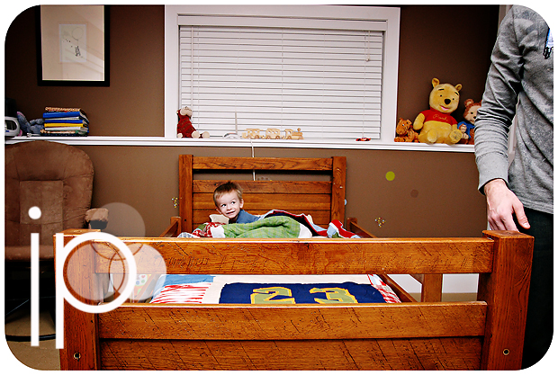 ethan's first night in his big boy bed