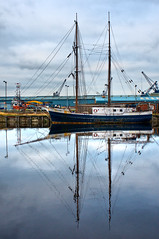 Boat, Leith (Surely Not) Tags: reflection water docks scotland boat nikon edinburgh ship harbour leith mast d300 yourphototips