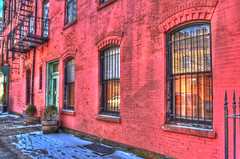 Red Browstone - HDR (marv117) Tags: red snow colors reflections 1740mm footprint hdr brownstone jerseycitynj canon40d marv117