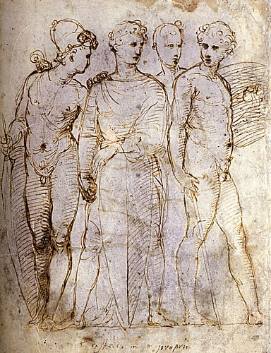 1505  Raphael    A group of Four Warriors  Pen and brown ink  27,1x216 cm  otam
