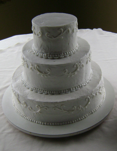 Three-Tier Stacked Wedding Cake with Filigree