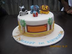 Another jungle safari cake! (CakeCreationsByHuma) Tags: birthday trees elephant animals cake 1st lion safari figurines jungle zebra fondant