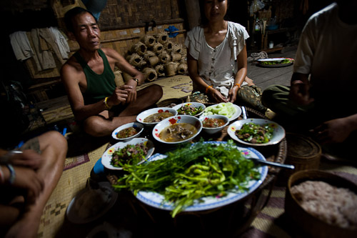 Making dinner with a Lao family in the central Lao village of Ban Hat Khai