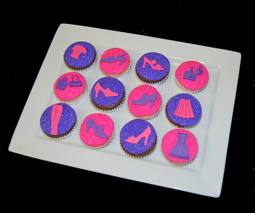Purple and Pink Glitter Fashion Cupcakes - shoes, clothes, purses, perfume