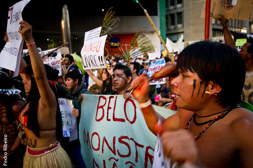 Indigenous communities demonstrate against Belo Monte, June 2011. Photo by Pedro_dm_Ribeiro on Flickr (CC-BY-NC 2.0).