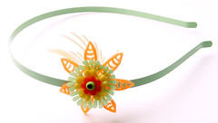 Green, Orange and Yellow Vintage Flowers Headband