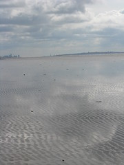 Clouds on the sand (Valkery) Tags: sea reflection beach liverpool sand formby