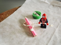 God bless you, Spider Man (Megan Young) Tags: pinkpencil legosuperhero savestheworld fromtheevil