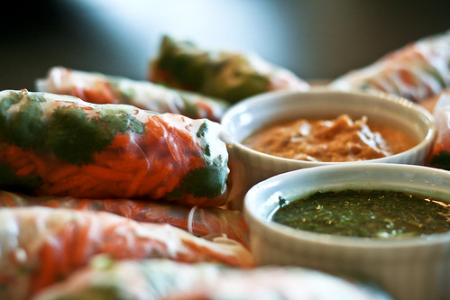summer rolls w/ spicy peanut & sesame basil dipping sauces