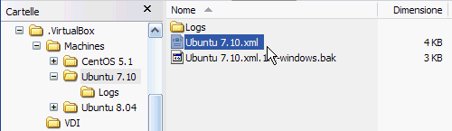 Fig 1 - VirtualBox snapshot - contenuto sottocartella Ubuntu 7.10 nella cartella Machines
