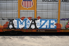 Amaze (ikeya 14•2•1) Tags: california railroad streetart train graffiti la graf spraypaint boxcar hobo railfan freight 08 amaze rxr moniker hobotag hobomoniker benching at