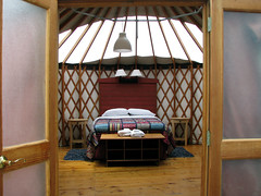 the lovely interior of a treebones yurt