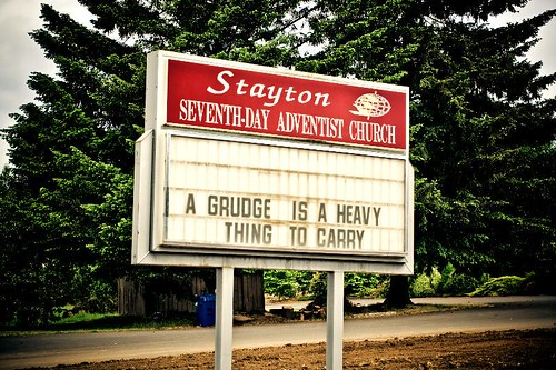 But For Some Of Us It's The Only Exercise We Get - a reader board at the Seventh-Day Adventist Church in Stayton Oregon