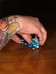 (KCrlni) Tags: friends dice tattoo hand roommates stack poker tatoos pokerchips eastcide