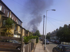 Sydenham Park fire, as seen from Venner Road, SE26