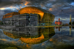 Millennium Centre & Torchwood HQ - HDR. (wentloog) Tags: uk morning reflection wales canon eos dawn bay early gallery britain who cymru arts cardiff millennium 101 doctor caerdydd 5d drwho hdr wfc 24105 canoneos5d torchwood ef24105f4l abigfave wentloog welshflickrcymru favemegroup4 favemegroup6 stevegarrington