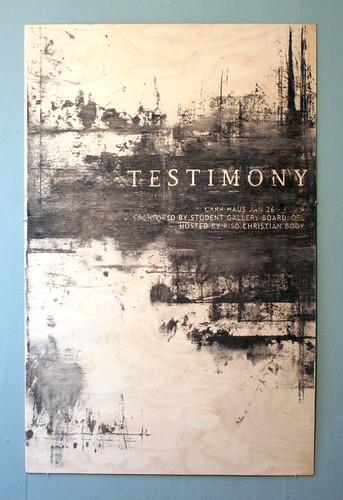 Testimony Poster- wood
