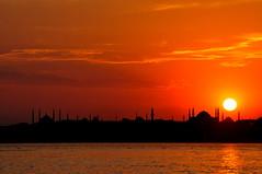 Müjdelenen şehir... (Atakan Eser) Tags: sunset dusk prayer istanbul mosque bluemosque cami hagiasophia sultanahmet ayasofya sarayburnu dsc7432