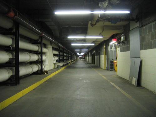 Massive underground steam tunnel hallway