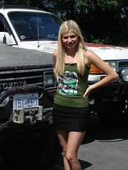 Miss EBI (Tjflex2) Tags: family woman canada cute girl vancouver fun pretty bc 4x4 posing sunny days blonde toyota trucks colourful landcruiser offroaders fourwheeldrive shortskirt showandshine coastalcruisers