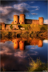 Castell Rhuddlan (andrewwdavies) Tags: sunset sunlight reflection castle water work river geotagged evening focus soft cymru working explore flipflops softfocus rhyl hdr trespassing rhuddlan northwales canonefs1022mmf3545usm clwyd gogledd photomatix smoothwater rhuddlancastle riverclwyd explored kingedward1 ortoneffect canoneos40d andrewwilliamdavies vosplusbellesphotos afonclwyd castellrhuddlan geo:lat=53288513 geo:lon=3466659