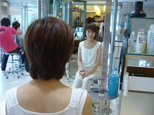 你拍攝的 剪髮前。