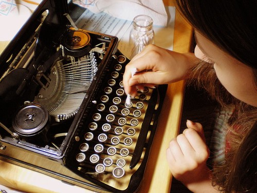 My Niece Cleaning Her Vintage Royal Typewriter