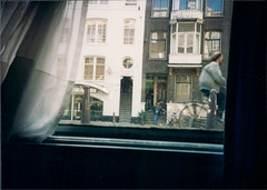 view from hotel in amsterdam (dacran) Tags: film window netherlands amsterdam bike europe nederland 1993 accommodations scannedprint