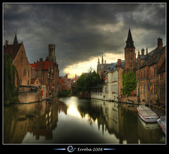 Belfry seen from the Rozenhoedkaai, Bruges - Belgium (Erroba) Tags: sunset sky autostitch panorama reflection water clouds photoshop canon rebel belgium belgique tripod brugge belgi sigma medieval chapeau tips bruges remote 1020mm erlend hdr belfort cs3 belfrey blueribbonwinner 3xp firstquality photomatix rozenhoedkaai tonemapped tonemapping xti 400d abigfave reie infinestyle erroba robaye erlendrobaye davincitouch